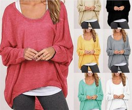 Wholesale Plus Size Batwing - 8 colors Women Blouses O neck Batwing Long Sleeve Casual Loose Solid Tops Shirts Plus Size M075