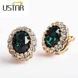 Wholesale Creates Clips - Green Zircon Crystals clip earrings for women Rose Gold Plated Created Emerald turquoise Jewelry earring female Brincos ear cuff