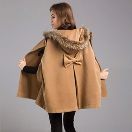 Wholesale Womens Hooded Fur Cape - 2017 New Womens Winter Jackets And Coats Plus Size Female Casual Loose Cape Bat Sleeve Wool Fur Collar Poncho Jacket Cloak Coat