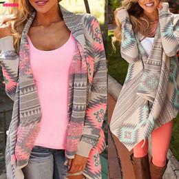 Wholesale Irregular Sweater Cardigan - Wholesale-Women Basic Coats 2016 New Irregular Long-sleeved Cardigan Sexy Sweater Women Print Winter Pink Autumn Jacket Women Phocho1