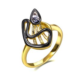 Wholesale Piercing Led - Creative Solitarie Design Vintage Rings for Women Black Gold-color Synthetic CZ Bezel Lead Free Pierced Mujeres Anillos