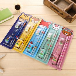 Wholesale Kid Ruler Stationery - Wholesale- 5PCS = 1Pack Students Ruler Pencil Eraser Rubber Sharpener Stationery Sets Cute Cartoon Design Kid Gift Toy School Supplies