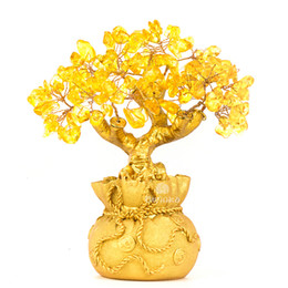 Wholesale Money Tree Decoration - Feng Shui Natural Citrine Gem Yellow Crystal Money Tree Office Home Table Office for Wealth Luck,Best Gift