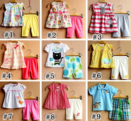 Wholesale Girls Owl Top - INS New Summer Girls Cotton Bunny 2Pc Set baby animal flower tops & girl floral short pants girls striped owl suit 9colors choose free