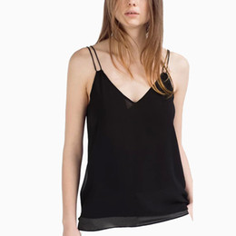 womens deep v neck shirts Coupons - Wholesale- Womens 2016 New Sexy Deep V Neck Bra Halter Tops Solid Black White Sleeveless Chiffon Women Shirt Style Tops Camis Camisole