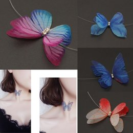 Wholesale Invisible Yarn - New Arrival New Fashion Designer Crystal Colorful 3D Yarn Chiffon Butterfly Chokers Invisible Fishline Silk Choker Necklace for Women