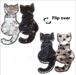 Wholesale Diy Cat Bag - 2017 NEW cat Reversible Change color Sequins Sew On Patches for clothes DIY Patch Applique Bag Clothing Coat Sweater Crafts
