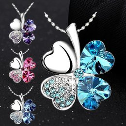 Wholesale Wholesale Swarovski Crystals Red - Women Vintage Fashion Jewelry Heart Crystal From Swarovski Four Leaf Clover Necklace Pendants #Y