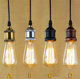 Wholesale Vintage Antique Kitchen - Brass Chrome Silver Black Rustic E27 Aluminum Antique Retro Vintage Screw Bulb Base Lamp Bulb Holder Pendant Lighting Socket Light Adaptor
