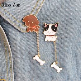 Wholesale Poodle Jewelry - Wholesale- Miss Zoe 2pcs set Cute Dog Poodle French Bulldog Puppy Bone Chian Brooch Pins Button Denim Jacket Pin Badge Gift Animal Jewelry