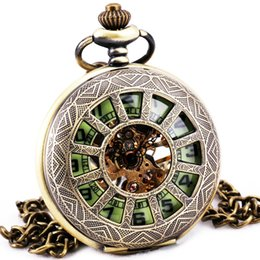 Wholesale Skeleton Pendant Watches - Wholesale-Steampunk Vintage Retro Copper Hand-wind Mechanical Pocket Watch Skeleton Luminous Green Dial Pendant Chain Fob Watches + BOX