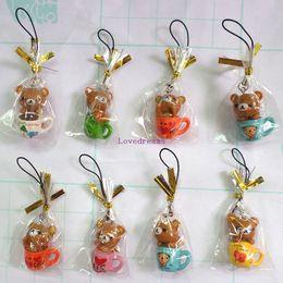 Wholesale Bear Bag Gift - New 40 pcs Kawaii Squishy Rilakkuma Bear Phone Straps Charms for Phone Mp3 Bags Gifts Wholesale