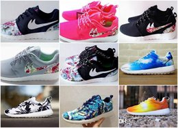 Wholesale Cheap Sport Fashion - Cheap Fashion Men Women roshes Run Running shoes Blue Palm Trees Sunset Floral Vintage Athletic Casual Sports Shoes DropShiphip Size 36-45