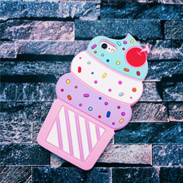 Wholesale New Cupcake Case Designs - 2017 New 3D Cute Color Cupcakes Ice Cream Design Soft Silicone Cover Case for IPhone 4 4S 5 5S 5C 5SE 6 6S 6  6S Plus 7  7plus
