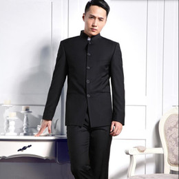 Wholesale Grey Suit Black Collar - Custom made men suits fashion groom suit tuxedos solid color mandarin collar wedding formal business occasions suits(jacket+pants)
