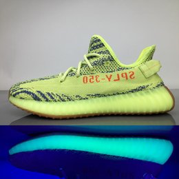 Wholesale Light Blue Color - 2017 SPLY 350 Boost V2 Shoes Semi Frozen Gum Glow in Dark Yellow Zebra B37572 Running Shoes Beluga Bred Black Red 12 Color