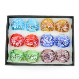 Wholesale Decorating Boxes - Handmade Gold Sand Glass Rings Grace Lampwork Glass Rings For Decorate Mix Color 12pcs box, MC1012