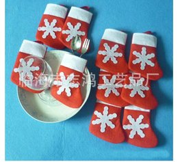 Wholesale Christmas Decorations Wholesale Prices - Best price Mini Christmas Stockings Dinnerware Cover Xmas tree decorations 7*13cm 100pcs