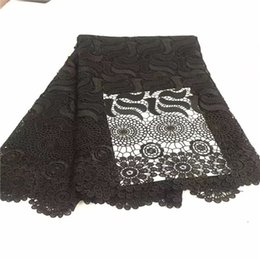 Wholesale Cheap Multi Colored Dresses - Free Shipping! Wholesale cheap 2017 New arrival african lace fabric Black color high quality guipure cord lace fabric for party dresses