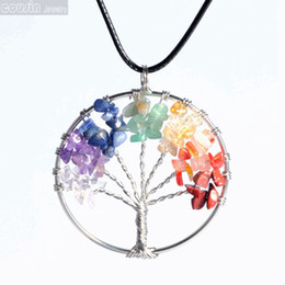 Wholesale Free Christmas Trees - 12pcs lot Natural Crystal stone Tree of life Pendant Necklace 7 Chakra Multicolor with black leather necklace Free shipping DZ0115f