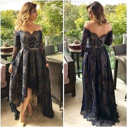 Wholesale Hi Lo Plus Size - Navy Blue Lace High Low Prom Dresses Long Sleeves Off Shoulder Cheap Formal Evening Party Gowns Dress 2017 Robes Arabic Plus Size Kaftan