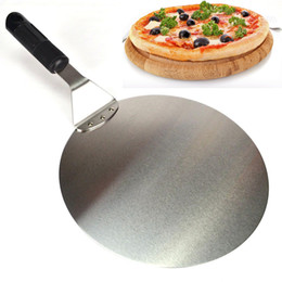 Wholesale Ceramic Kitchenware Wholesale - Wholesale- Round Stainless Steel Pizza Spatula Peel Shovel Turner Cake Lifter Tray Pan Home Kitchen Baking Pastry Tools Kitchenware