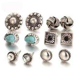 Wholesale Ear Cuffs Stones - Hot 6pairs  set Vintage Crystal Heart Earrings For Women Stone Beads Ear Cuff Piercing Ears Clips Steampunk Love Party Earring
