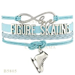 Wholesale Wholesale Figure Skating Gifts - Wholesale- (10 PCS Lot)Infinity Love Figure Skating Shoes Charms Bracelets For Women Men Jewelry Light Blue Gifts Suede Leather Bracelets