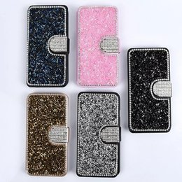 Wholesale Diamond Pattern Iphone Case - Luxury Bling Diamond Flip Wallet Leather Case Silk Pattern Card Slot Stand Holder Cover For iPhone 5s 6s 6 Plus 7 7 plus Samsung S6 S7