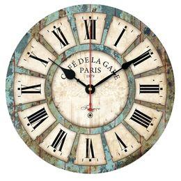 Wholesale Lit Wall Clock - Wholesale- New European Style Vintage Creative Round Wood Wall Clock Quartz Bracket Clockorologio parete Smile