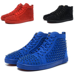 Wholesale Leisure Shoes For Women - 2017 new red bottom sneakers for men women with Spikes black suede fashion casual louboutin shoes leisure trainer footwear