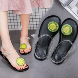 Wholesale Women Summer Shoes Wholesale - 2017 New Summer PVC Fruit Jelly Flat Shoes Casual Beach Clear Crystal Classic Buckle Strap Sandals Strawberry Lemon Women Shoes