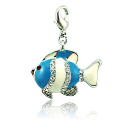 Wholesale Bulk Fishing - Wholesale Fashion Floating Lobster Clasp Charms Rhinestone Blue Enamel Fish Bulk DIY Charms For Jewelry Making Accessories