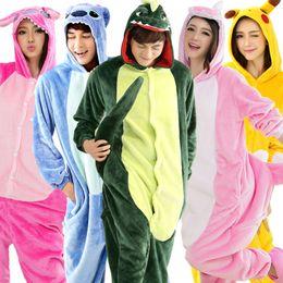 Wholesale Cheap Black Nightgowns - Autumn Spring Winter Flannel Lovers Couples Unisex Animal Pajamas One Piece Cartoon Sleepwear Kugurumi Cheap Adult Aimal Onsies