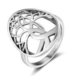 Wholesale Life Size Women - Fashion 925 Sterling Silver Rings Tree Of Life Weave Shape Vintage Style Charms Women Promise Rings