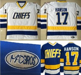 Wholesale H Logo - throwback ice hockey jersey#17 Steve Hanson Charlestown Chiefs Jersey, Men's Hanson Brother Slap Shot 100% Stitched Embroidery Logos Movie H