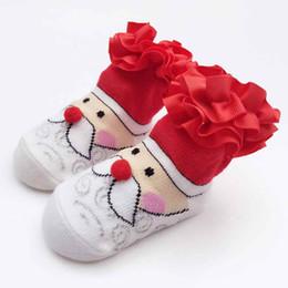 Wholesale White Socks Ruffles - Little Girls Socks Red White Santa Clause Newborn Girls Sock Red Double Ruffle Christmas Baby Girls Sock