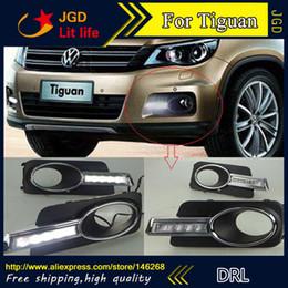 Wholesale Vw Led Daytime Running Lights - Free shipping ! 12V 6000k LED DRL Daytime running light for VW Tiguan 2009-2012 fog lamp frame Fog light Car styling