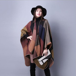 Wholesale Yellow Scarf Stars - New Women's Winter Poncho Vintage Blanket Women's Lady Knit Shawl Cape Cashmere Scarf Poncho Fashion accessories