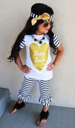 Wholesale Toddler Boy Leopard Short - 3PCS Toddler Kids Baby Girl Clothes Set T-shirt Top Short Sleeve Headband Pants Outfit Girls Clothing Set