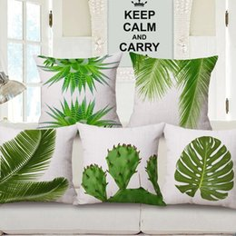 Wholesale Leaf Pillows - Summer Green Leaves Cushion Covers Tropical Plants Monstera Cactus Pineapple Palm Leaf Cushion Cover Sofa Throw Linen Cotton Pillow Case