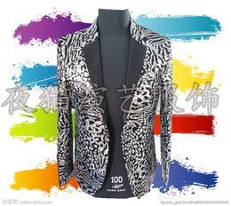 Wholesale Flower Dancers - Wholesale- 3D flower blazer jacket prom wedding male costume Black gold plaid nightclub bar paillette male cortex singer dancer performance
