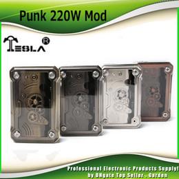 Wholesale Mod Batteries - Original Tesla Punk 220W TC Mod Powered by dual 18650 Battery Box Mod Ecig Vape Mods 4 Rainbow Colors 100% Authentic Teslacigs