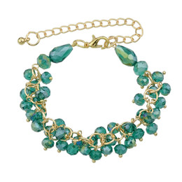 Wholesale Colorful Gold Plated Bangles - Luxurious Jewelry Gold-Color Chains Bangles and Bracelets Colorful Crystal Beads Charm Bracelet Femme