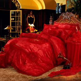 Wholesale King Rose Jacquard Comforter - IvaRose New Silk Cotton Luxury Jacquard wedding Bedding Set lace rose lover Duvet cover BedSpread set Queen King 4 6 9pcs