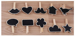Wholesale Peg Holder - Wholesale-So Cheaop 6pcs lot various shape heart Wooden Pegs Photo Clips Name Place Card Holders Wedding table Settings wedding decoration