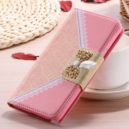 Wholesale Cute S3 Note Casing - Cute Korean Mini Wallet Flip Leather Mobile Phone Case For Samsung Galaxy s6 edge Note 4 s3 s4 s5 Card Holder Photo Frame Cover Note4