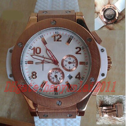 Wholesale Dive Watch Men Rubber Band - New luxury men automatic BIG BANG steel golden white watch mechanical sport dive mens watches rubber band glass back with original clasp