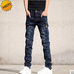 Wholesale Boys Size Skinny Jeans - Wholesale-Wholesale Teenagers Jeans Skinny Embroidered patch Hole Ripped Pencil Pants Distressed Boys Stretch Hip Hop Bottoms Men 28-36