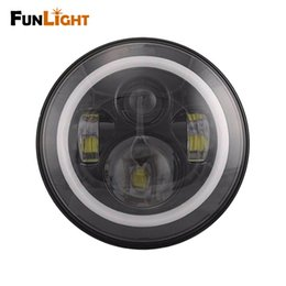 Wholesale universal halo lights - 7inch Round Led headlight For Harley Davidson Motorcycle H4 Led Headlamp Halo With Angle Eyes For Harley Moto Lighting